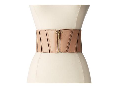 BCBGMAXAZRIA - Paneled Zip Front Waist Belt (Nude) Women
