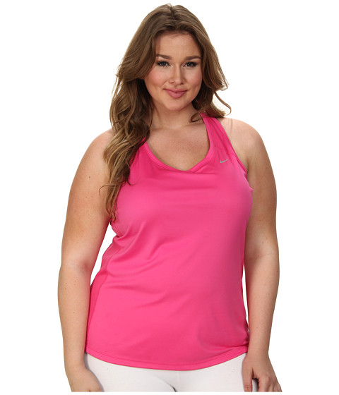 Nike - Extended Size Miler Tank (Hot Pink/Blue Lagoon/Blue Lagoon/Reflective Silver) Women