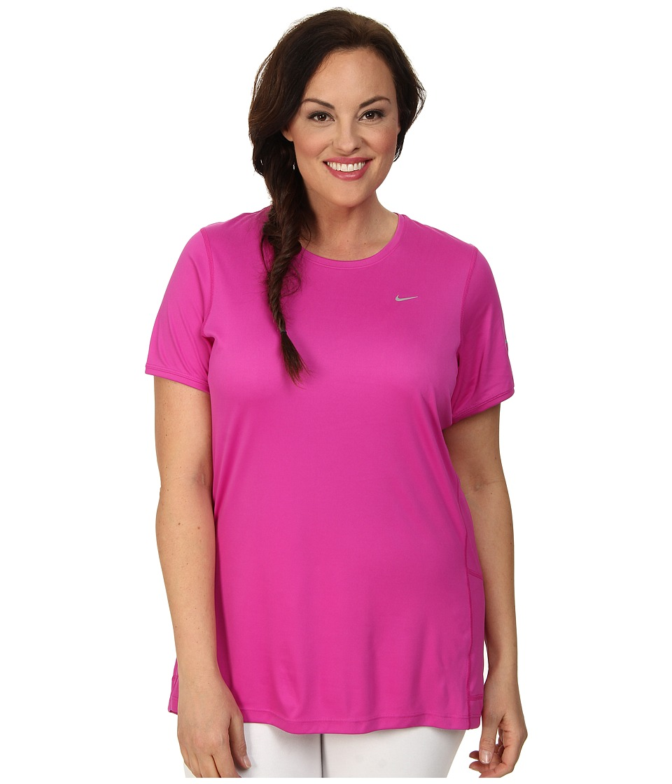 Nike - Extended Size S/S Miler (Fuchsia Flash/Reflective Silver) Women's Short Sleeve Pullover