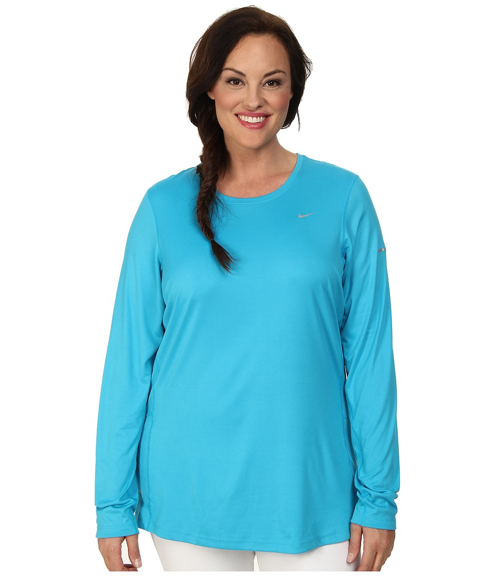 Nike - Extended Size L/S Miler (Blue Lagoon/Reflective Silver) Women's Workout