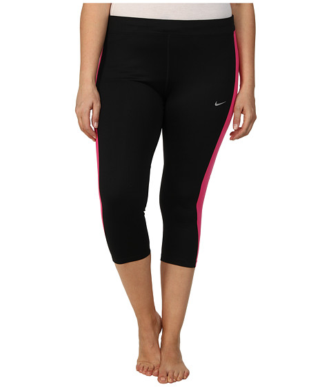 Nike - Extended Dri-FIT Essential Crop (Black/Hot Pink/Hot Pink/Reflective Silver) Women's Capri