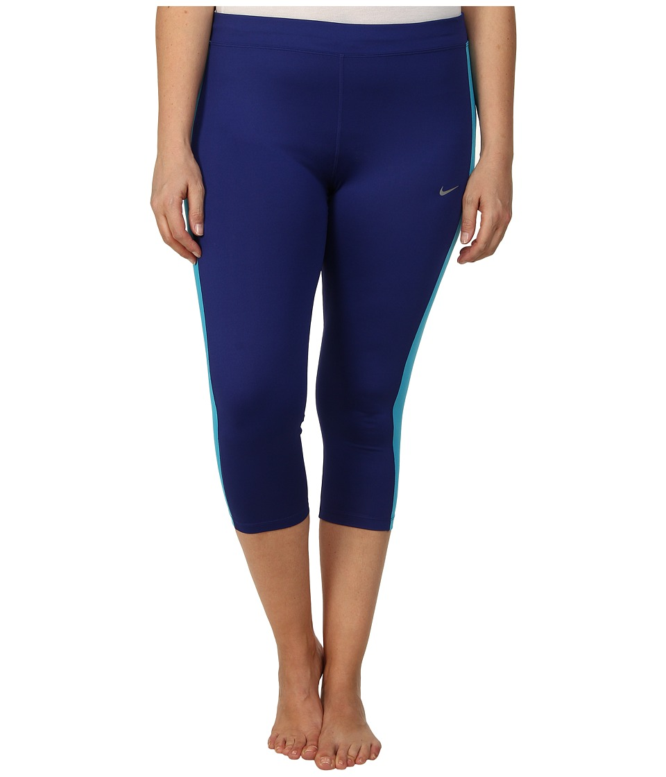 Nike - Dri-FIT Essential Running Crop (Size 1X-3X) (Deep Royal Blue/Blue Lagoon/Blue Lagoon/Reflective Silver) Women's Capri