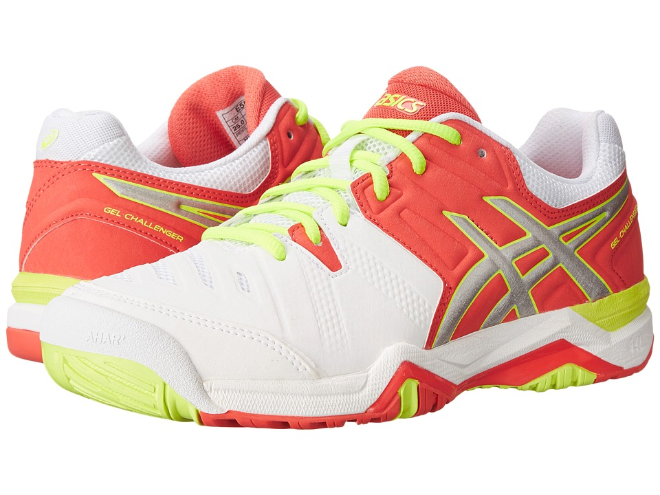 ASICS - GEL-Challenger 10 (White/Hot Coral/Silver) Women's Shoes
