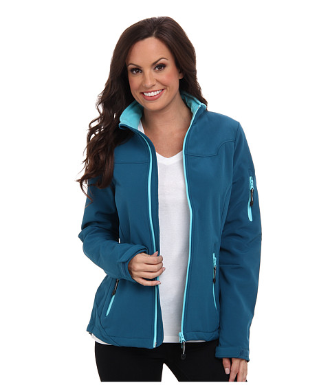 Roper - Teal Softshell Jacket w/ Turquoise Lining (Green) Women's Coat