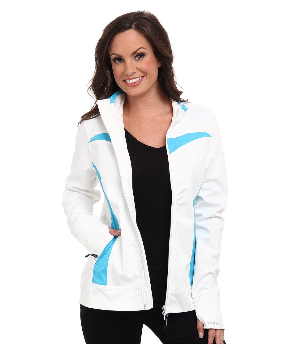 Roper - White Softshell Jacket w/ Pieced Turquoise (White) Women