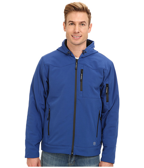 Roper - Insulated Softshell Jacket w/ Hood (Blue) Men's Coat