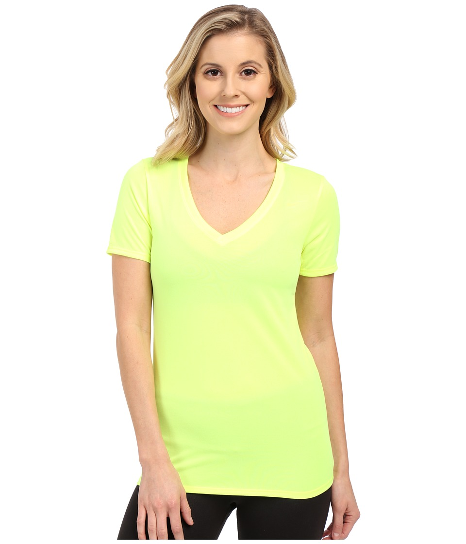 Nike Legend 2.0 V-Neck Training Tee (Volt/Volt) Women