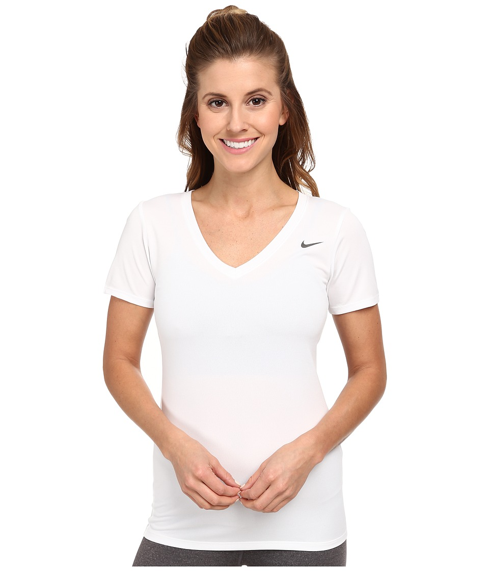 Nike - Legend 2.0 V-Neck Training Tee (White/White) Women's T Shirt
