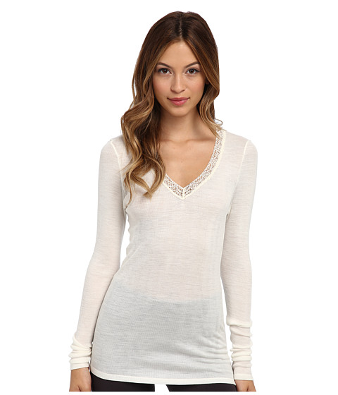 Hanro - Woolen Lace Long-Sleeve Shirt (Pale Cream) Women's T Shirt