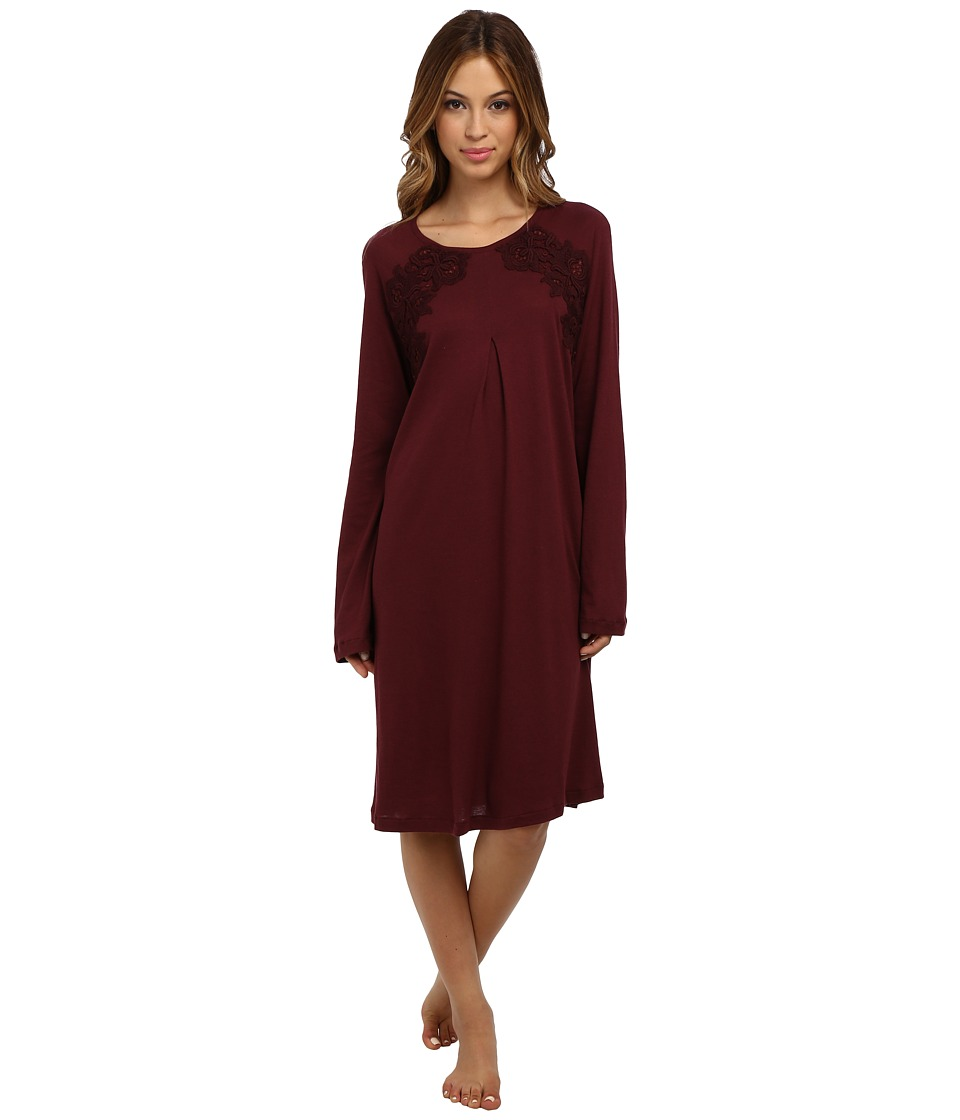 Hanro - Moma Long-Sleeve Nightgown (Maroon) Women's Pajama