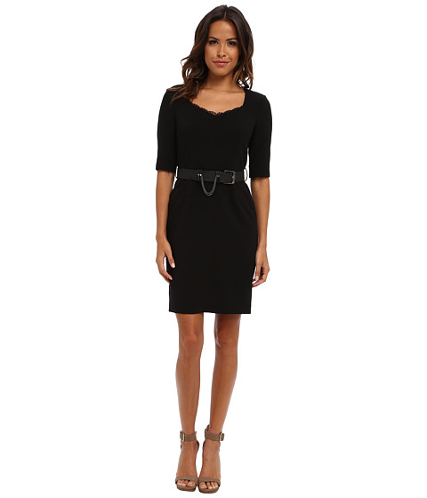 Adrianna Papell - Belted Dress with Lace Trim w/ Leather belt (Black) Women's Dress