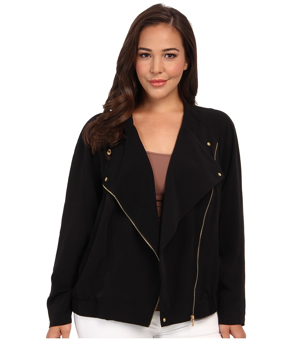 Calvin Klein Plus - Plus Size Soft Moto Jacket (Black) Women's Coat plus size,  plus size fashion plus size appare