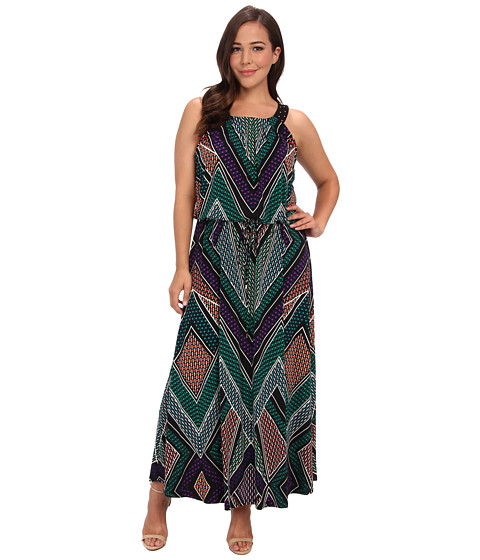 Calvin Klein Plus - Plus Size Print Maxi Dress w/ Stud (Green Multi) Women