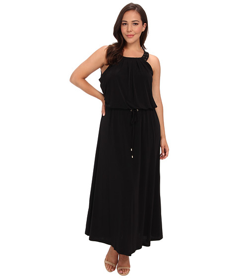 Calvin Klein Plus - Plus Size Solid Maxi Dress w/ Stud (Black) Women's Dress