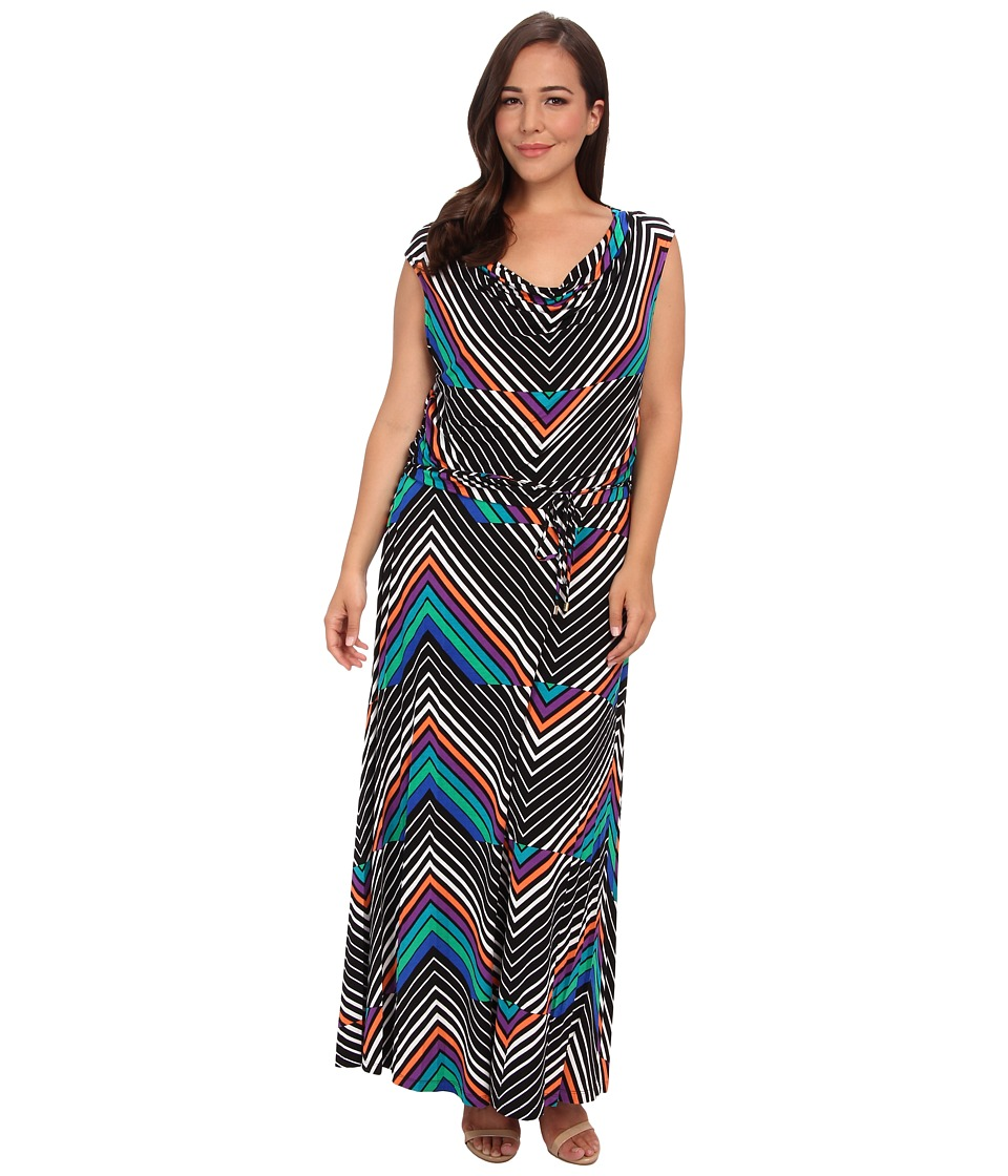 Calvin Klein Plus - Plus Size Print Cowl Neck Maxi Dress (Tulip Multi) Women