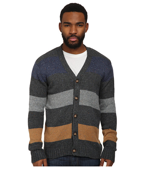 UNIONBAY - L/S Damon Nep Button Up Cardigan Sweater (Charcoal Heather) Men's Sweater