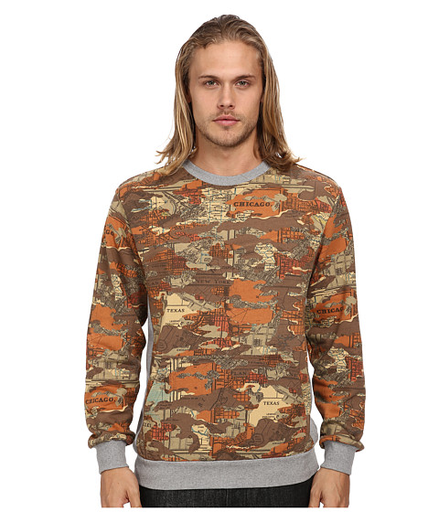 Crooks & Castles - Tactics Knit Crew Sweatshirt (Brown Map Camo) Men