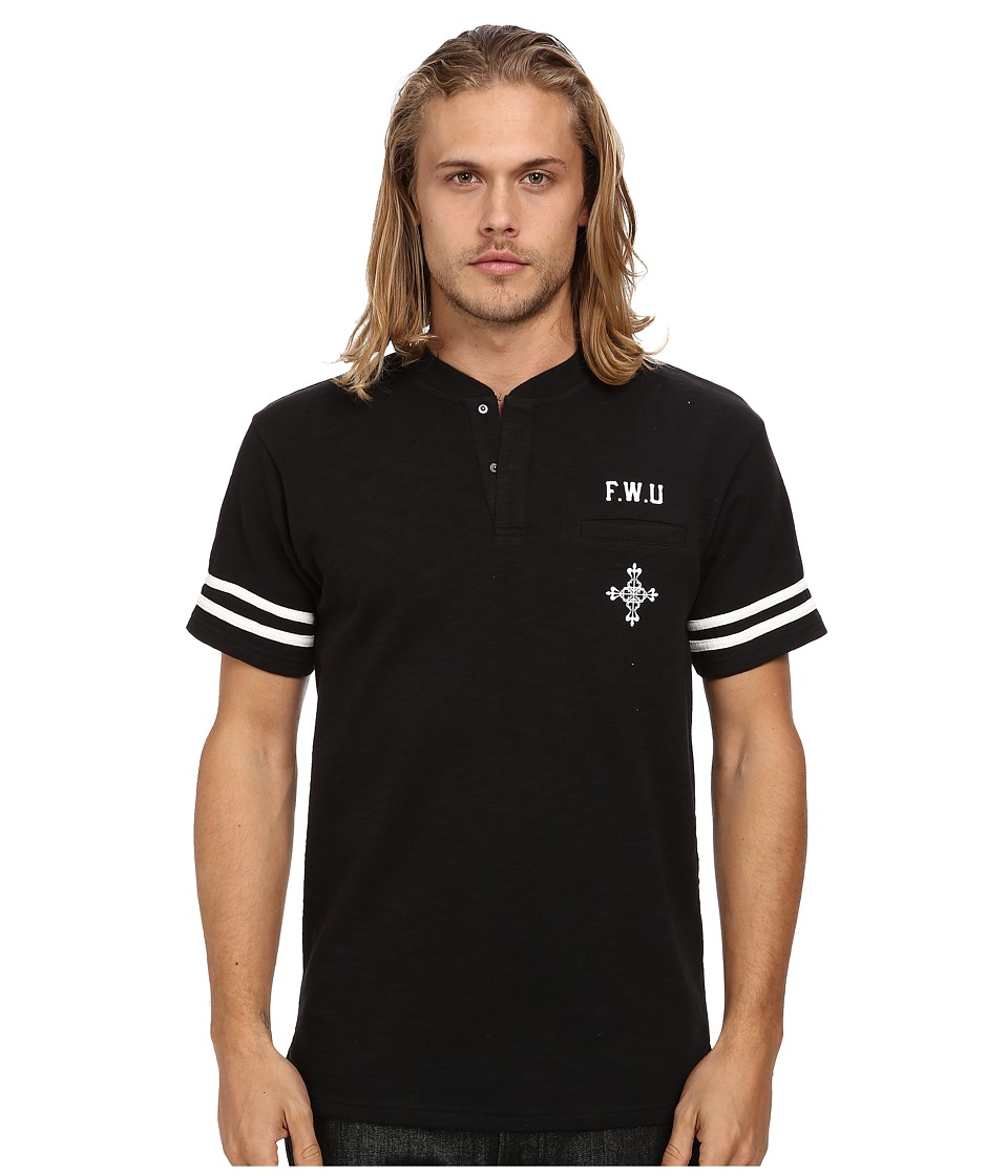 Crooks & Castles - Hooligan Knit S/S Henley (Black) Men's Short Sleeve Knit