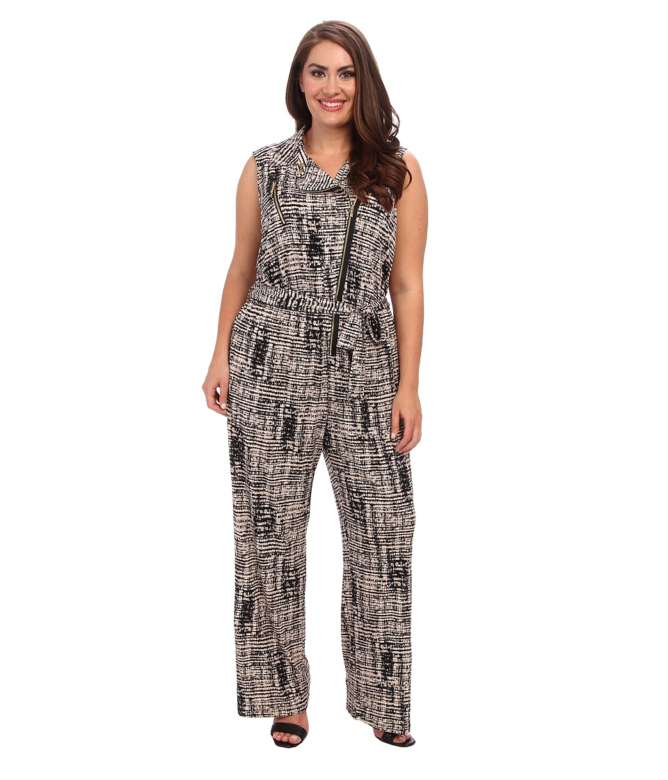 Calvin Klein Plus - Plus Size Print Moto Jumpsuit (Beige Windowpane) Women's Jumpsuit & Rompers One Piece