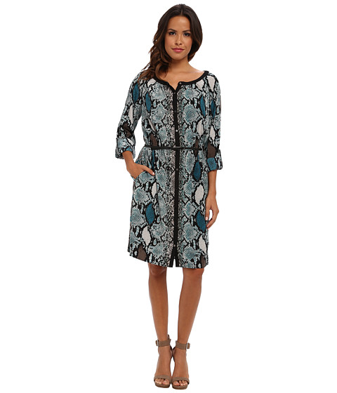 Adrianna Papell - Colored Snake Skin Placement Print Dress w/ Leather Belt (Teal Multi) Women