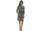 Colored Snake Skin Placement Print Dress w/ Leather Belt