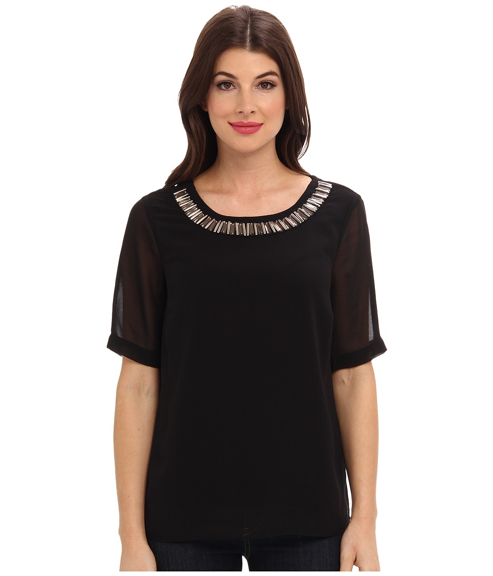Adrianna Papell - S/S Washed Crepe Blouse w/ Embellished Collar (Black) Women