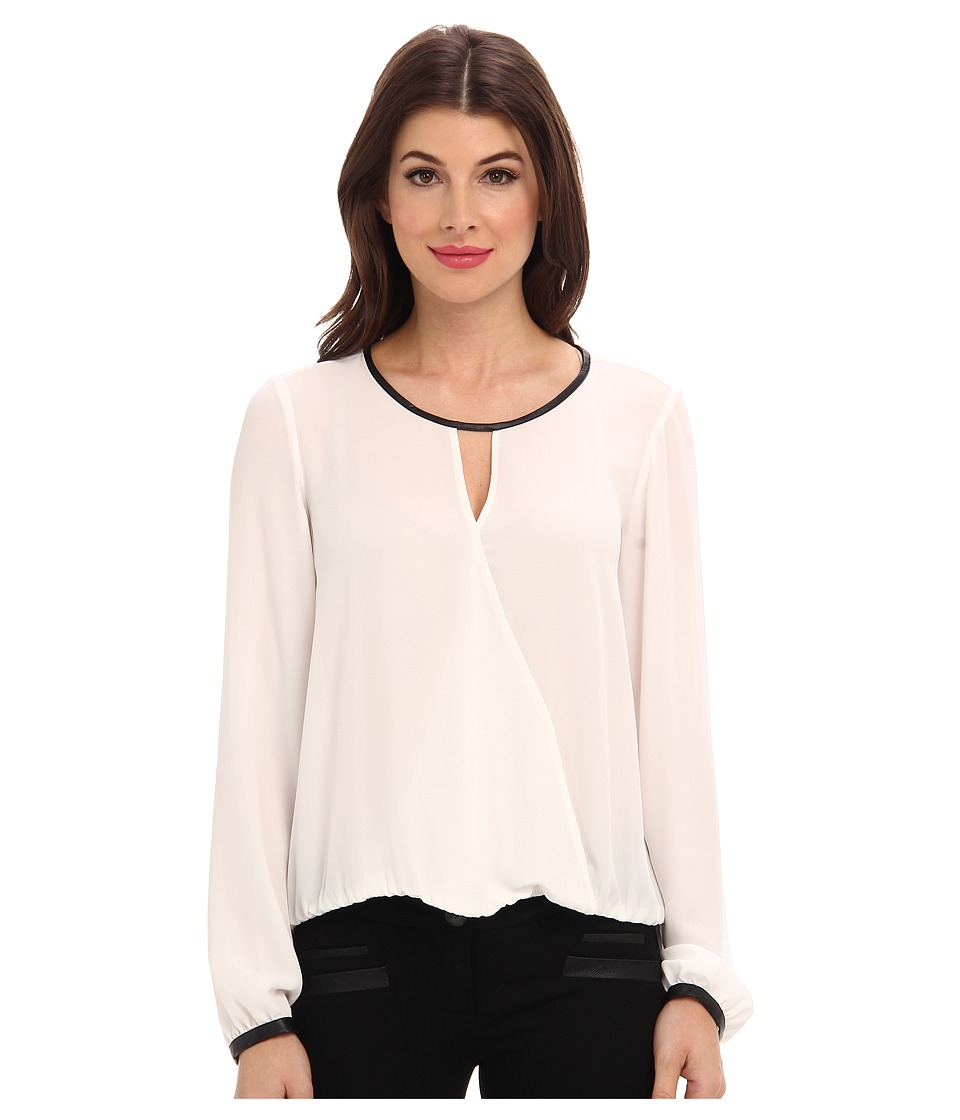 Adrianna Papell - L/S Draped Blouse w/ Slight V-Neck and Gathered Cuff (Ivory) Women's Blouse