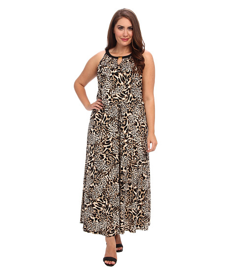 Calvin Klein Plus - Plus Size Keyhole Maxi Dress (Beige Multi) Women's Dress