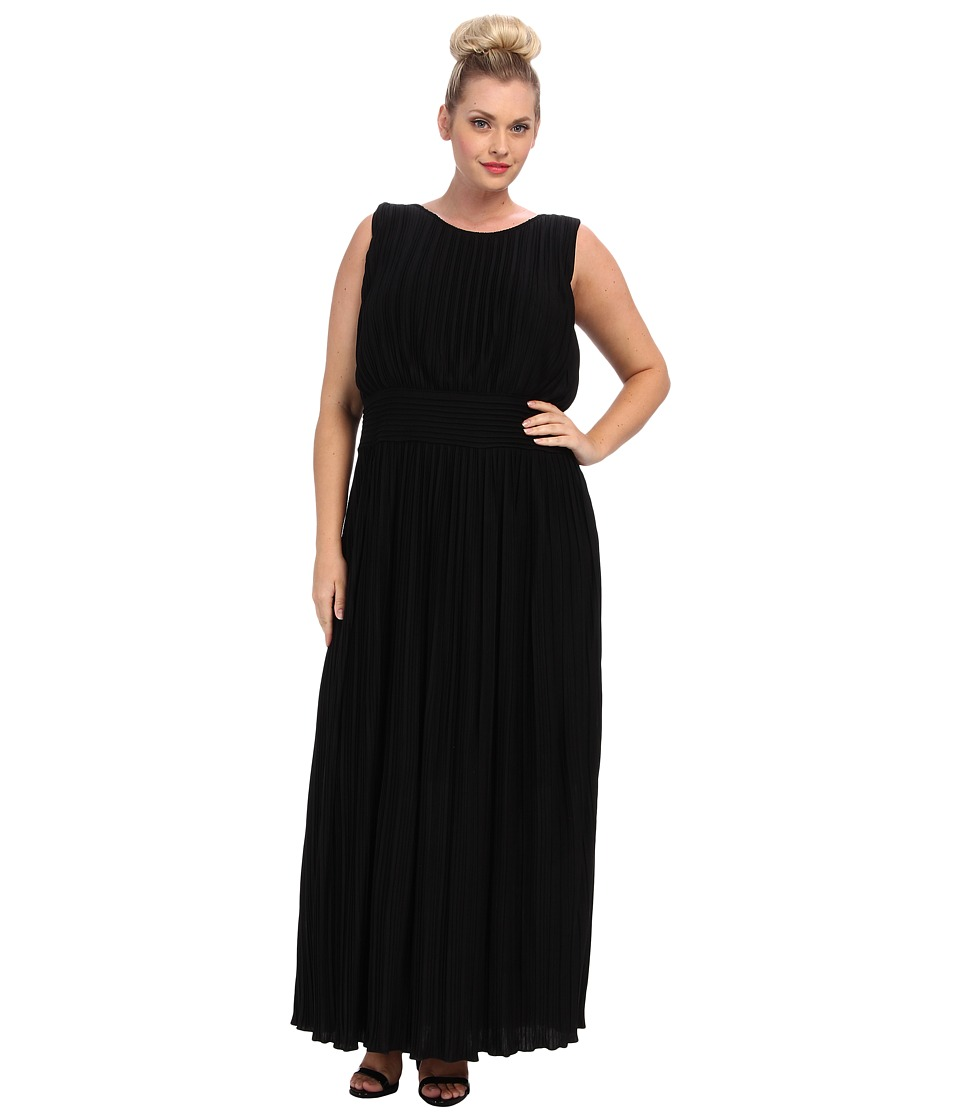 Calvin Klein Plus - Plus Size Pleated Maxi Dress (Black) Women's Dress