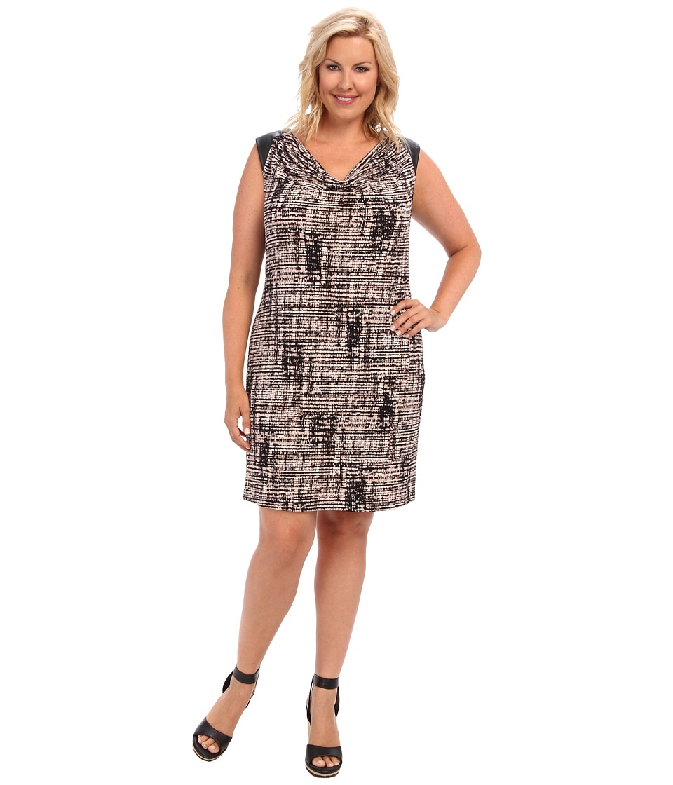 Calvin Klein Plus - Plus Size Short Sleeve Dress w/ PU Shoulder (Beige Windowpane) Women's Dress