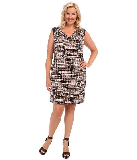 Calvin Klein Plus - Plus Size Short Sleeve Dress w/ PU Shoulder (Beige Windowpane) Women