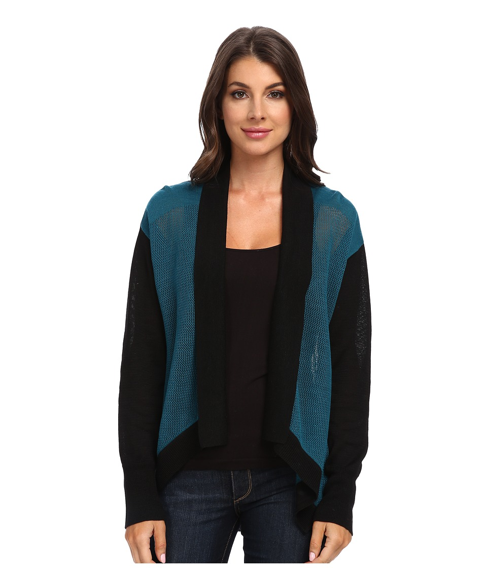 Adrianna Papell - Amelia Open-Front Cardigan w/ Color Blocked Trim (Teal) Women's Sweater