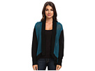 Amelia Open-Front Cardigan w/ Color Blocked Trim