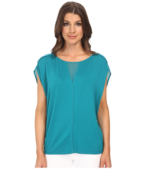 Adrianna Papell - Slouched Jersey w/ Chiffon V-Neck and Shoulder Detail (Teal) Women's Long Sleeve Pullover