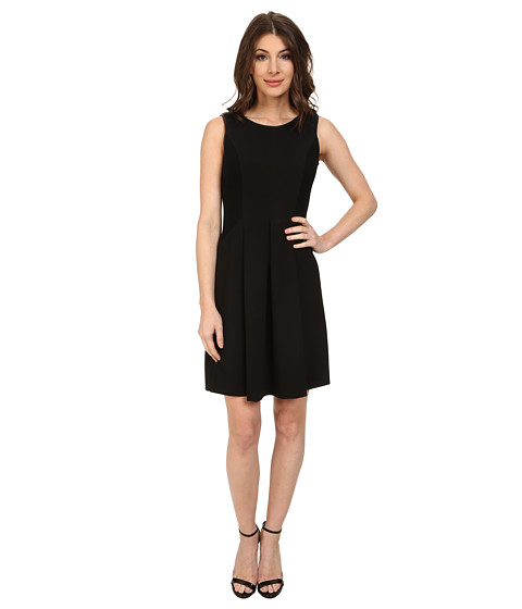 Adrianna Papell - S/L Skater Dress w/ Faux Leather Binding Sweater Trim (Black) Women's Dress