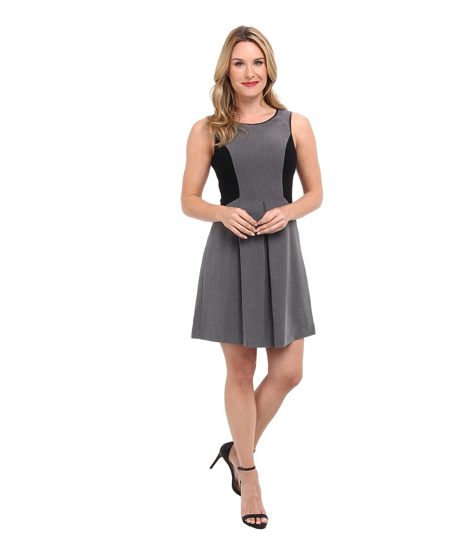 Adrianna Papell - S/L Skater Dress w/ Faux Leather Binding Sweater Trim (Charcoal/Black) Women
