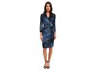 Adrianna Papell Concorde Print Faux Wrap Dress (Sapphire Multi)