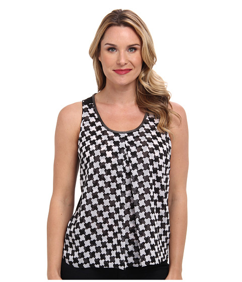 Adrianna Papell - Ella Wavy Checker Motif Tank w/ Metal Chain Trim Knit Back (Black/Ivory) Women's Sleeveless