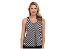 Ella Wavy Checker Motif Tank w/ Metal Chain Trim Knit Back