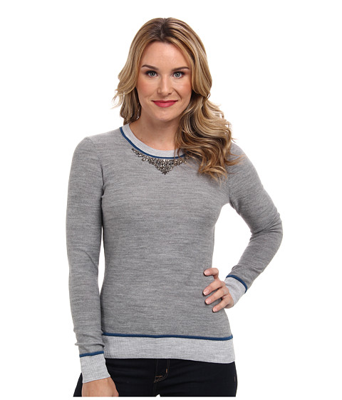 Adrianna Papell - Embroidered Neckline Color Blocked Sweater (Charcoal) Women