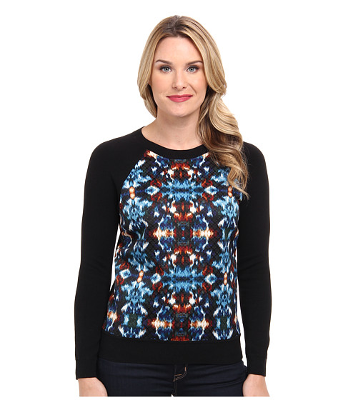 Adrianna Papell - Ikat Printed Jacquard Pullover Sweater (Black Multi) Women
