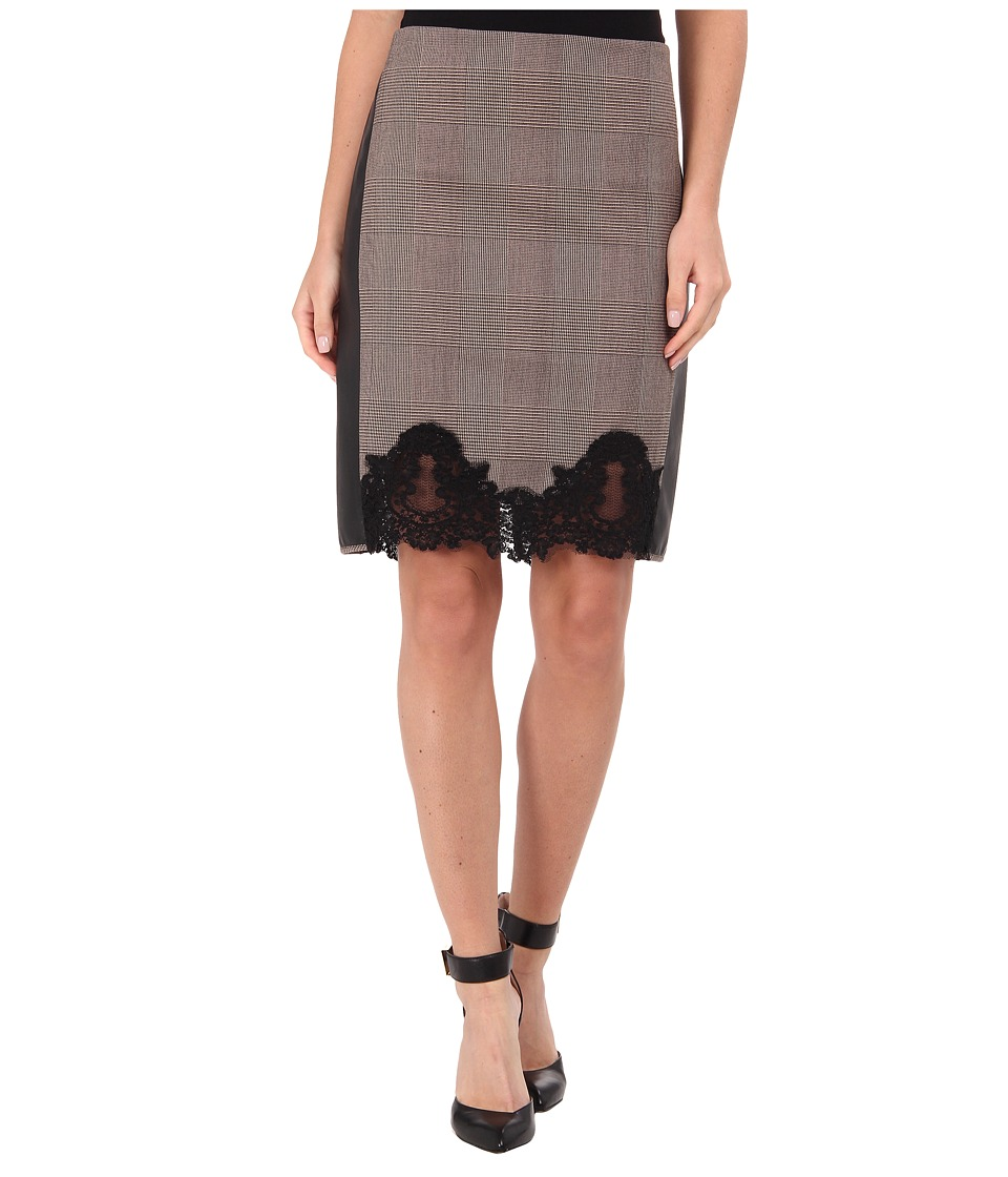 Adrianna Papell - Pencil Skirt w/ Faux Leather Trim Lace Detail (Black/Sable) Women's Skirt