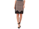 Pencil Skirt w/ Faux Leather Trim Lace Detail