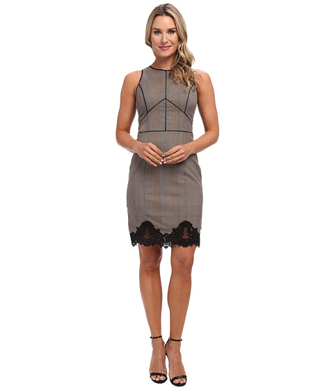 Adrianna Papell - S/L Dress w/ Faux Leather Trim Lace Detail (Black/Sable) Women