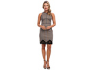 S/L Dress w/ Faux Leather Trim Lace Detail