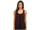 Ella S/L Large Gingham Motif Tank w/ Light Weight Faux Leather Trim Jersey Knit Back