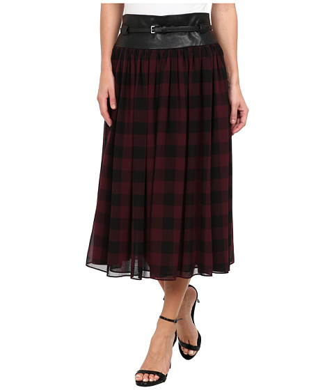 Adrianna Papell - Large Gingham Motif Full Skirt w/ Faux Leather Trim (Black/Red) Women