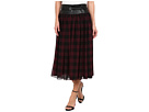 Large Gingham Motif Full Skirt w/ Faux Leather Trim