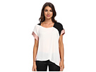 Adrianna Papell Asymmetrical Color Blocked Blouse w/ Washer Poly Trim (Ivory/Black)