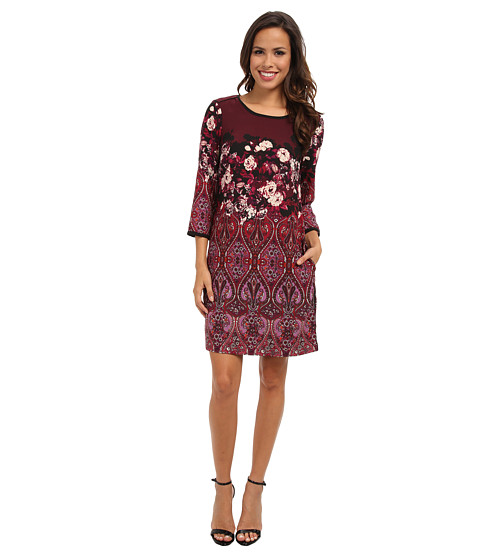 Adrianna Papell - Paisley w/ Floral Border Placement Print Shift Dress w/ Solid Combo Trim (Red Multi) Women